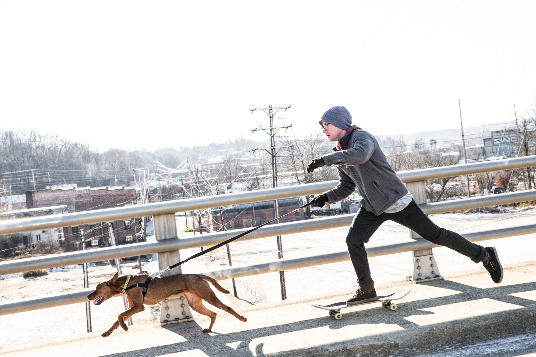 Los Angeles Dog Photography, Michael Brian, Man skateboards with dog, Purina ONE, Zeus Jones, 28 Day Challenge, Asheville, North Carolina
