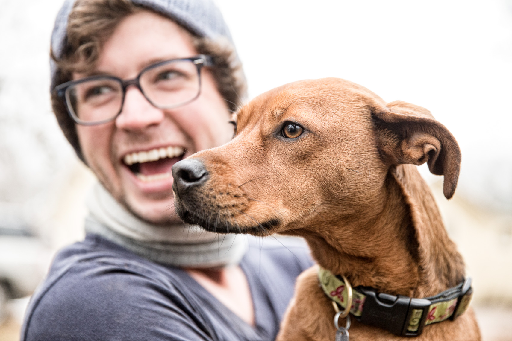 Los Angeles Dog Photography, Michael Brian, Purina ONE, Man laughing with dog in arms, Zeus Jones, 28 Day Challenge, Asheville, North Carolina