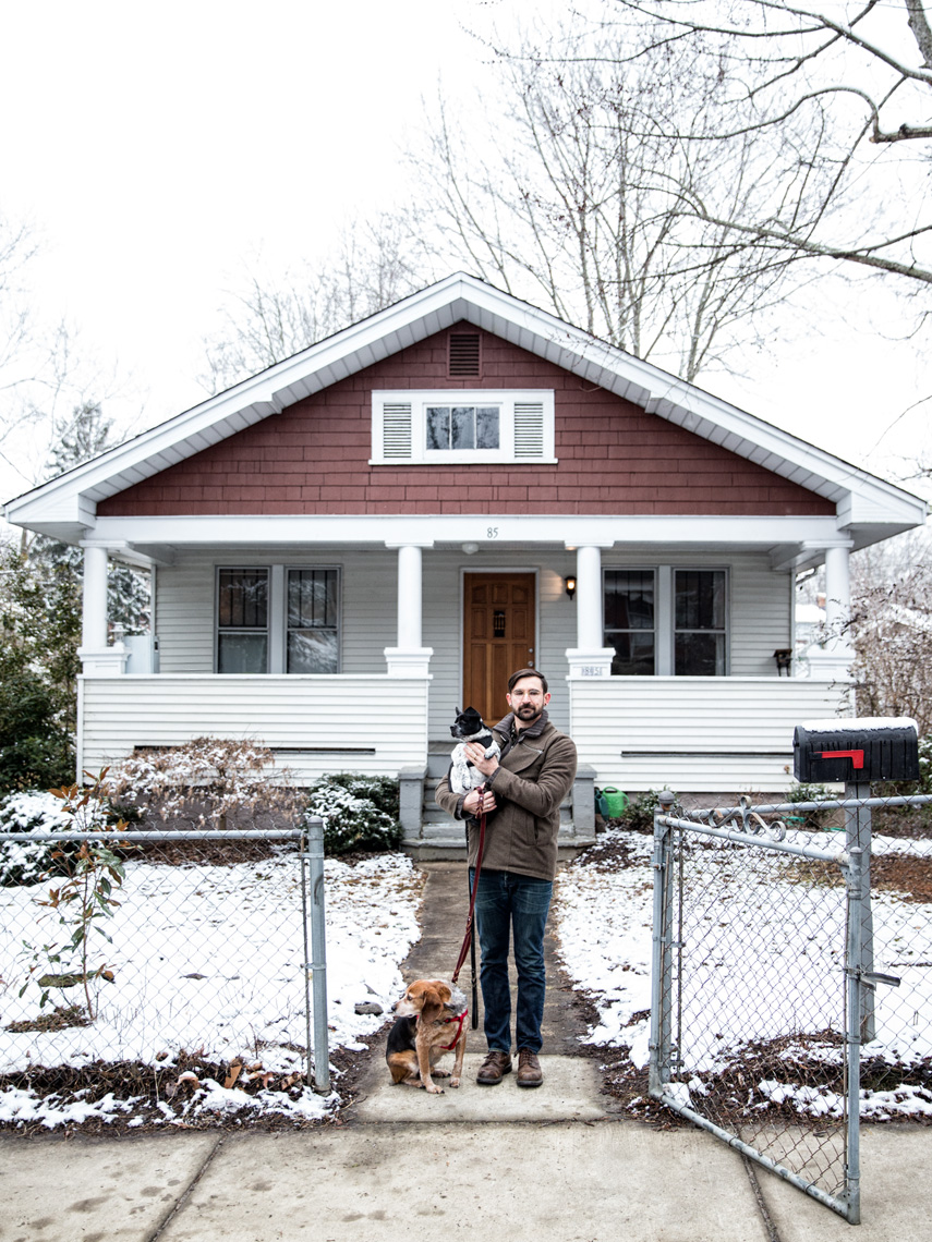 Los Angeles Dog Photography, Michael Brian, Purina ONE 28, Portrait of man with two dogs in front of house, Zeus Jones, Day Challenge, Asheville, North Carolina