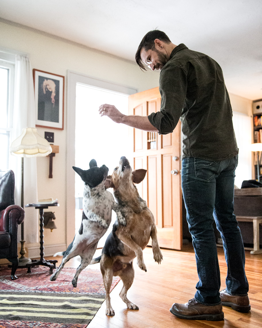 Los Angeles Dog Photography, Michael Brian, Two dogs, one blind dog, Purina ONE, jumping up for treats, Zeus Jones, 28 Day Challenge, Asheville, North Carolina