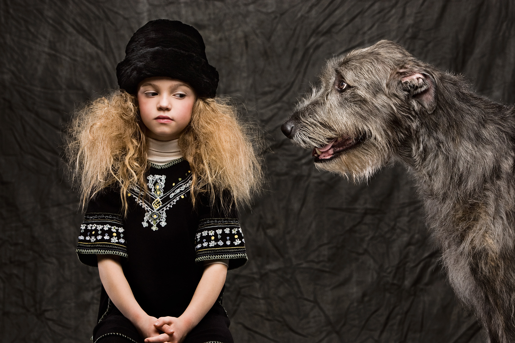 Irish Wolfhound, Michael Brian Kids Photography, Los Angeles, Earnshaws kids fashion, giant dog