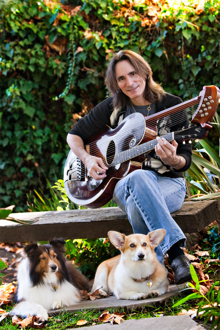 Los Angeles Dog Photography, Michael Brian, Steve Vai, Corgie and Sheltie dogs, custom guitar