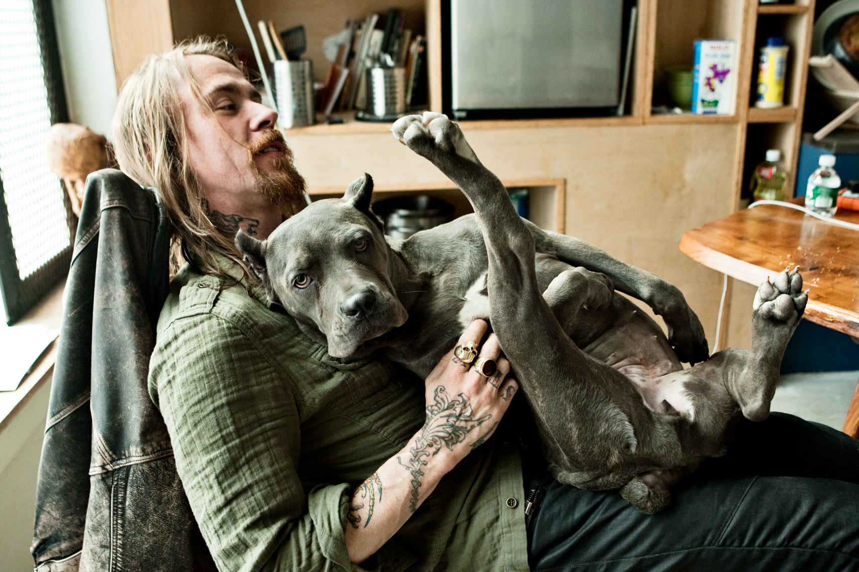 Los Angeles Dog Photography, Michael Brian, Clay Patrick McBride with dog Judy, tattooes