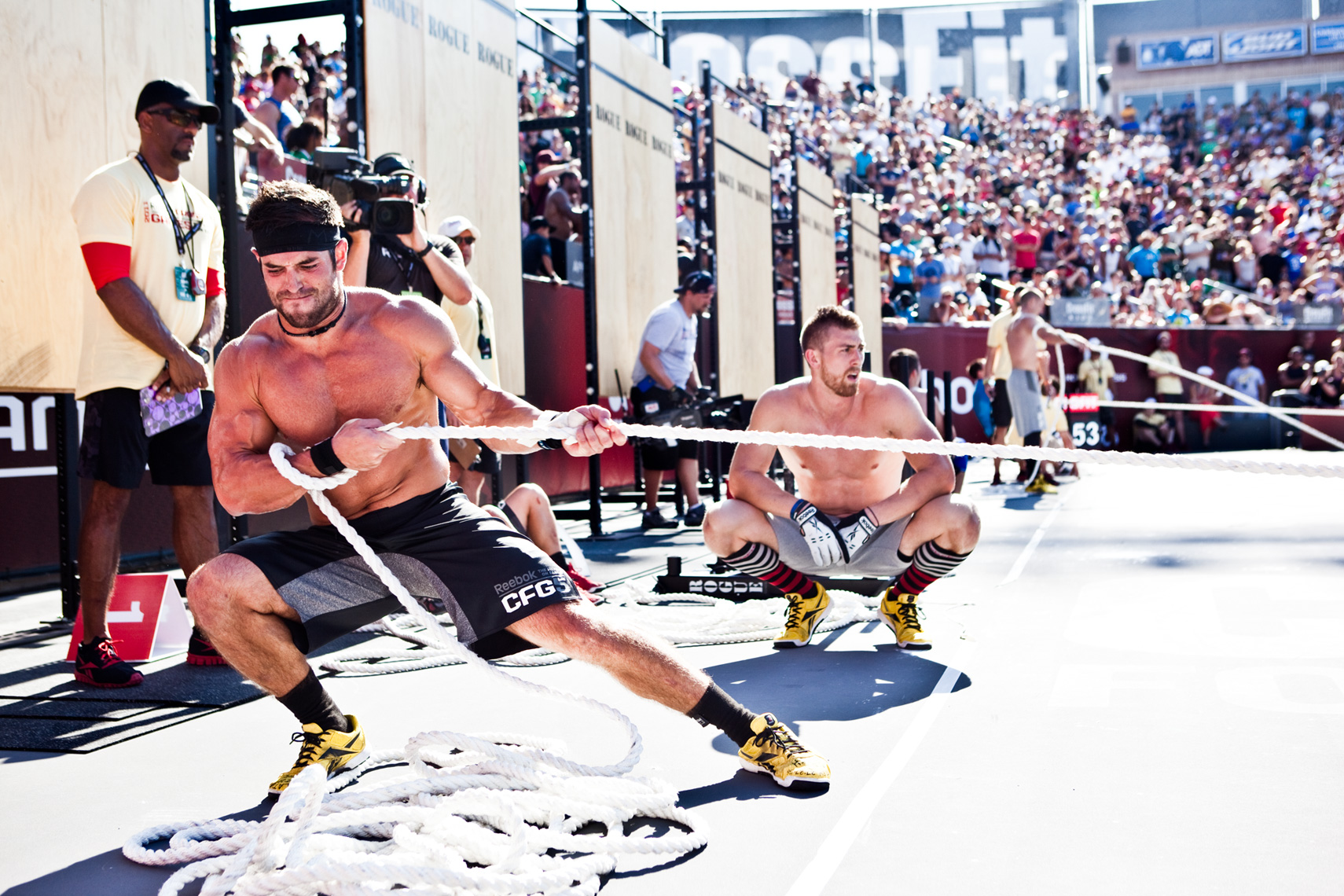 Los Angeles Sports Photography, Michael Brian, athlete, Rich Froning, Fittest Man on Earth, Reebok Crossfit Games Champion, sled pull, StubHub Center