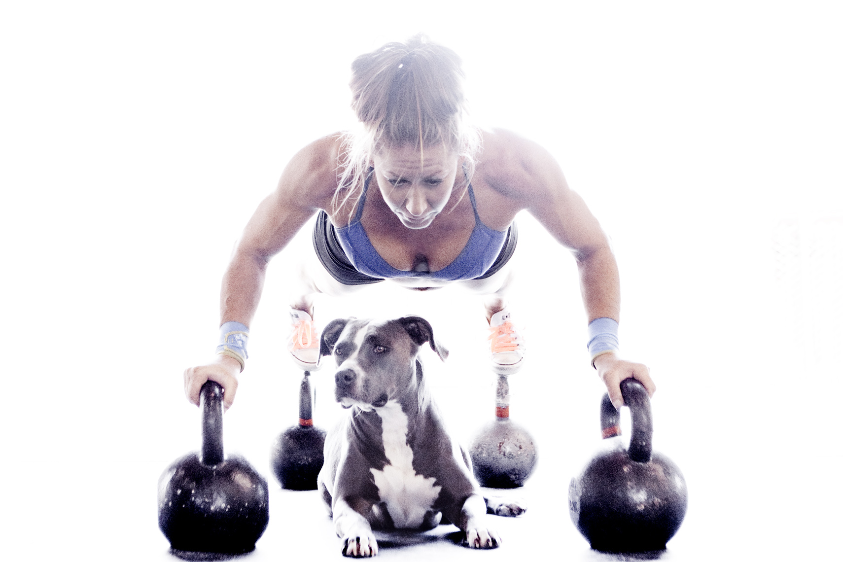 Crossfit, LA Dog Photography, Michael Brian, Los Angeles, Sports, Kelly Urbani, Strength Wraps with Blue Nose Pit Bull kettlebell pushups, Orange Coast Crossfit