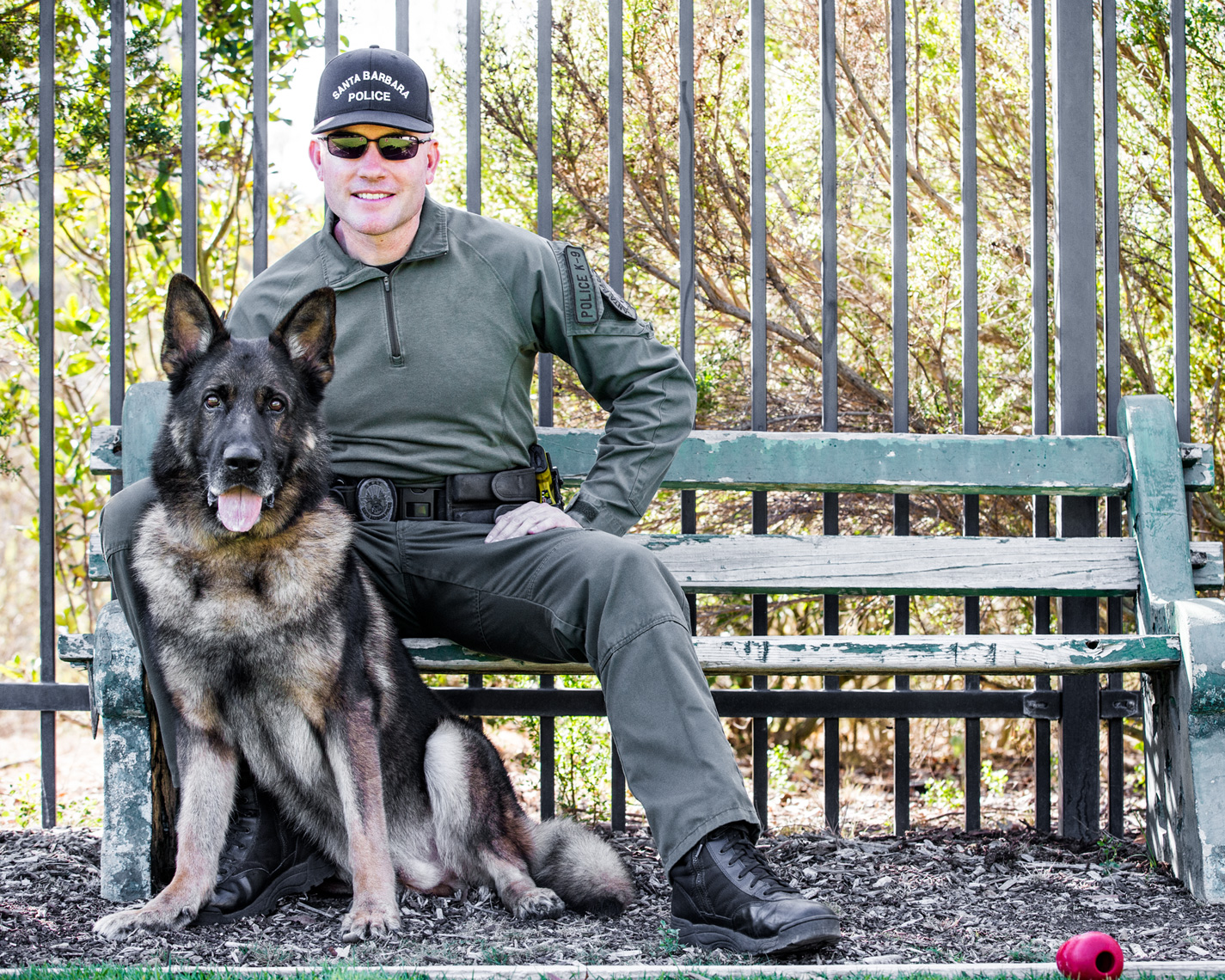 Los Angeles Dog Photography, Michael Brian, Officer David Hedges with Police K-9 Brag, SBPD, Santa Barbara Police Department