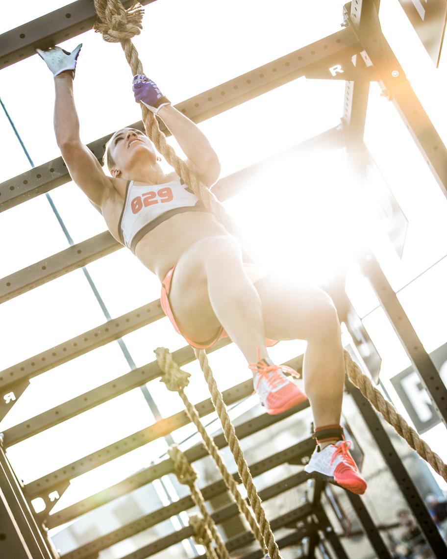 Los Angeles Sports Photography, Michael Brian, female, athlete, Camille Leblanc-Bazinet, Fittest Woman on Earth, leggless rope climb, Reebok, Crossfit Games Champion, StubHub Center