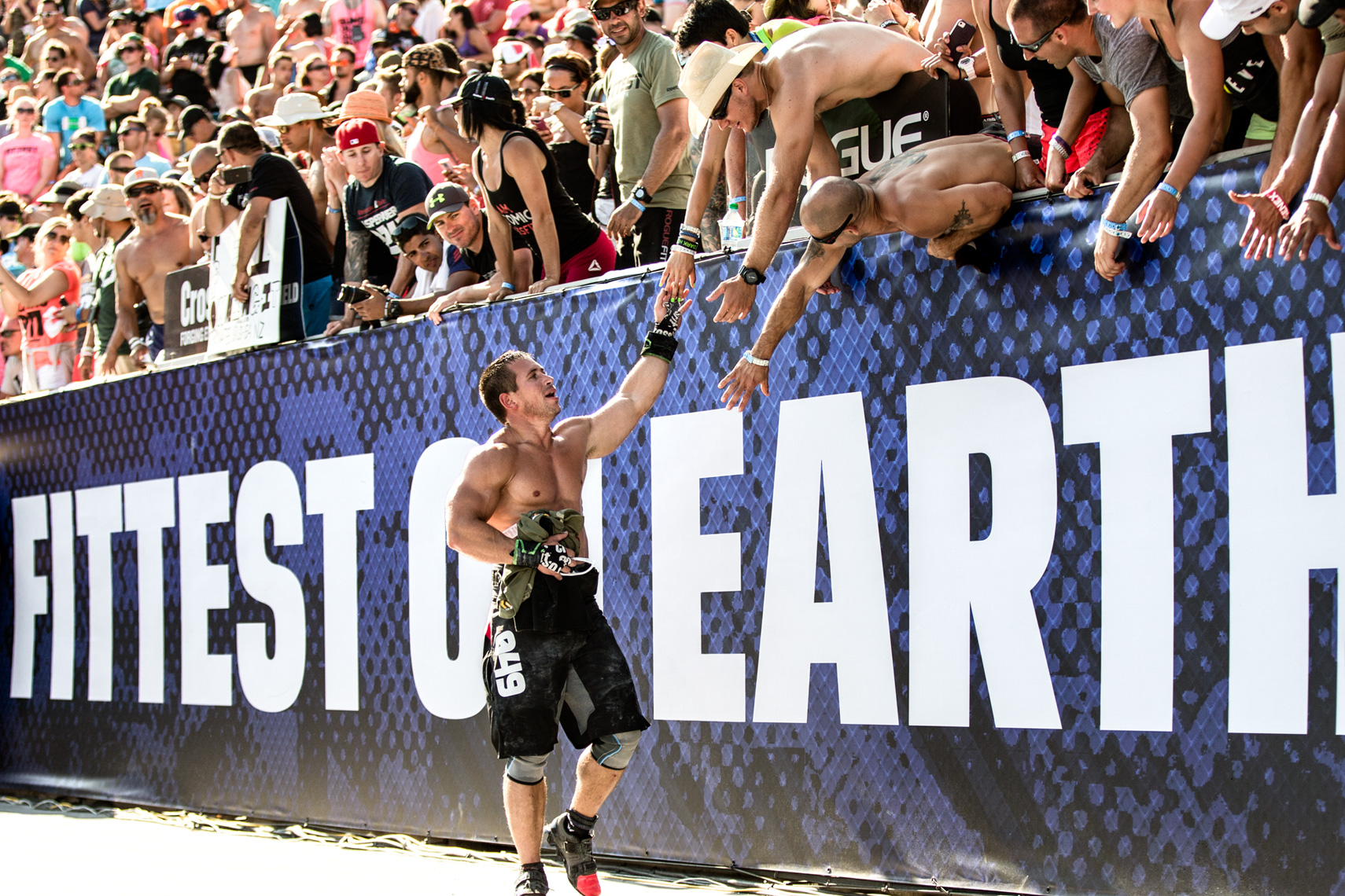 Los Angeles Sports Photography, Michael Brian, Dan Bailey engages fans, Reebok Crossfit Games, athlete, StubHub Center