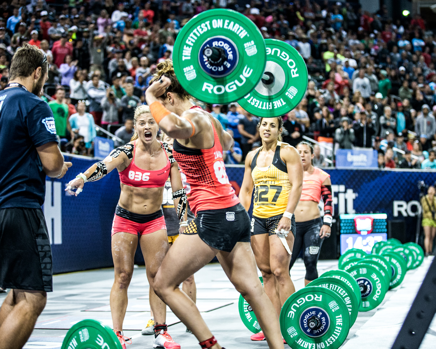 Los Angeles Sports Photography, Michael Brian, athlete, female, Lindsey Valenzuela, Reebok Crossfit Games, Rory Zambard, Alessandra Pichelli and Kara Webb during competition, StubHub Center