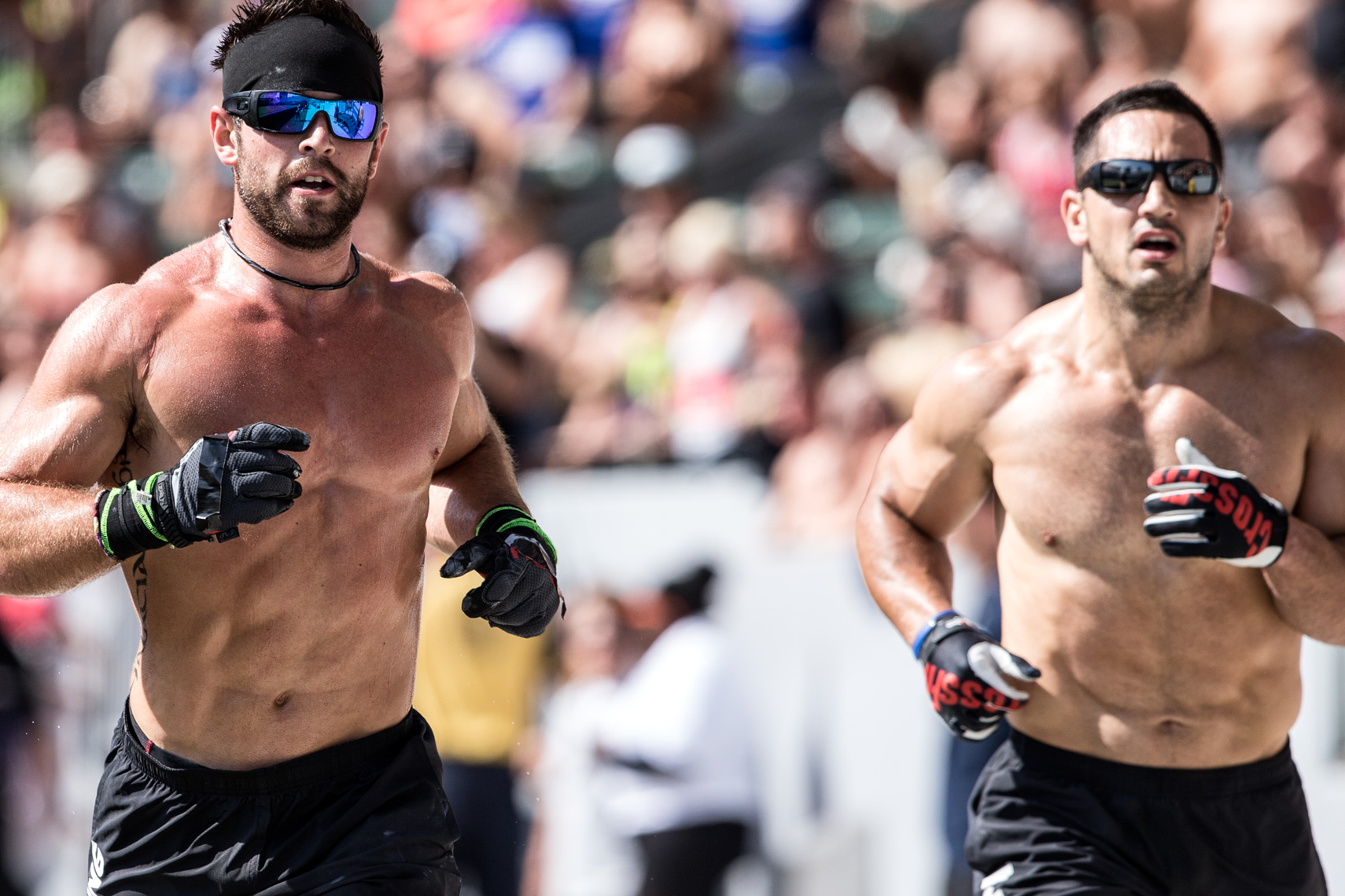 Los Angeles Sports Photography, Michael Brian, athlete, Crossfit, Rich Froning,  Fittest Man on Earth, running with Jason Khalipa, Reebok Crossfit Games champion, Rogue, StubHub Center
