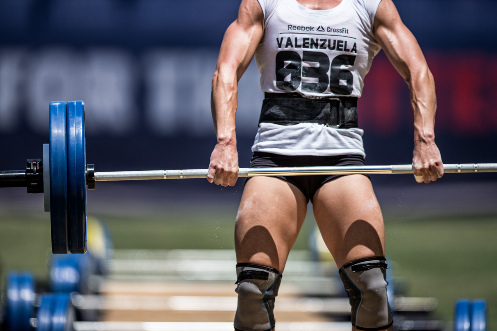 Los Angeles Sports Photography, Michael Brian, athlete, female, Crossfit, Lindsey Valenzuela, Clean and Jerk Ladder, mid pull, Reebok Crossfit Games athlete, StubHub Center