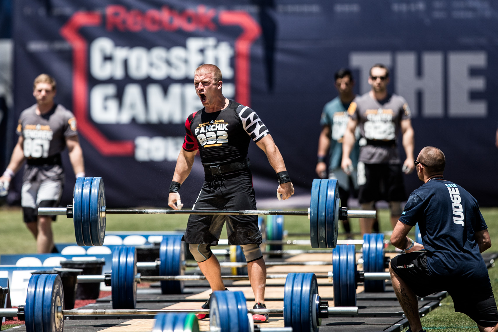 Los Angeles Sports Photography, Michael Brian, athlete, Crossfit, Scott Panchik celebrates successful lift, Reebok Crossfit Games athlete, Clean and Jerk Ladder