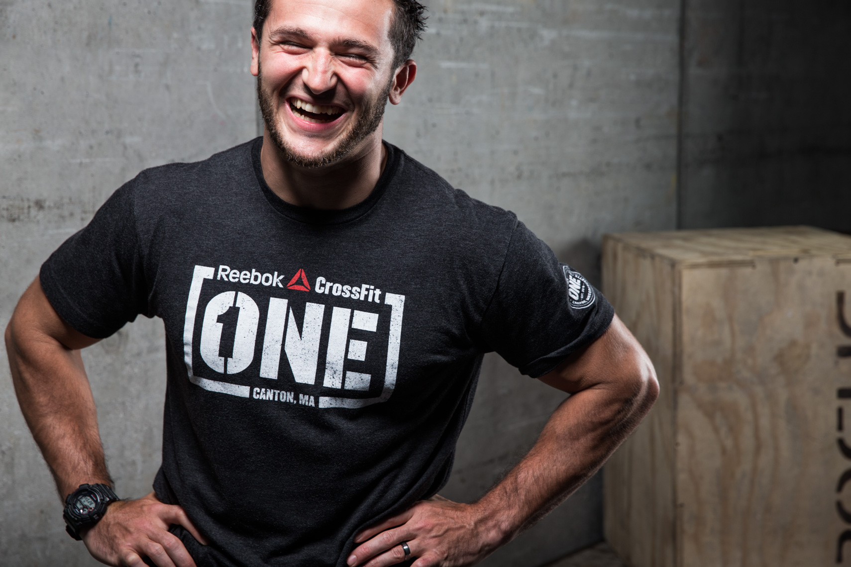 Los Angeles Sports Photography, Michael Brian, Laughing portrait of Crossfit Games athlete Austin Malleolo, Crossfit One Nation, Reebok, Rogue