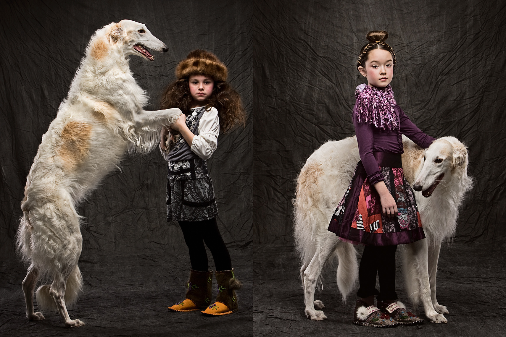 Borzoi, Michael Brian Kids Photography, Los Angeles, Earnshaws kids fashion, giant dog