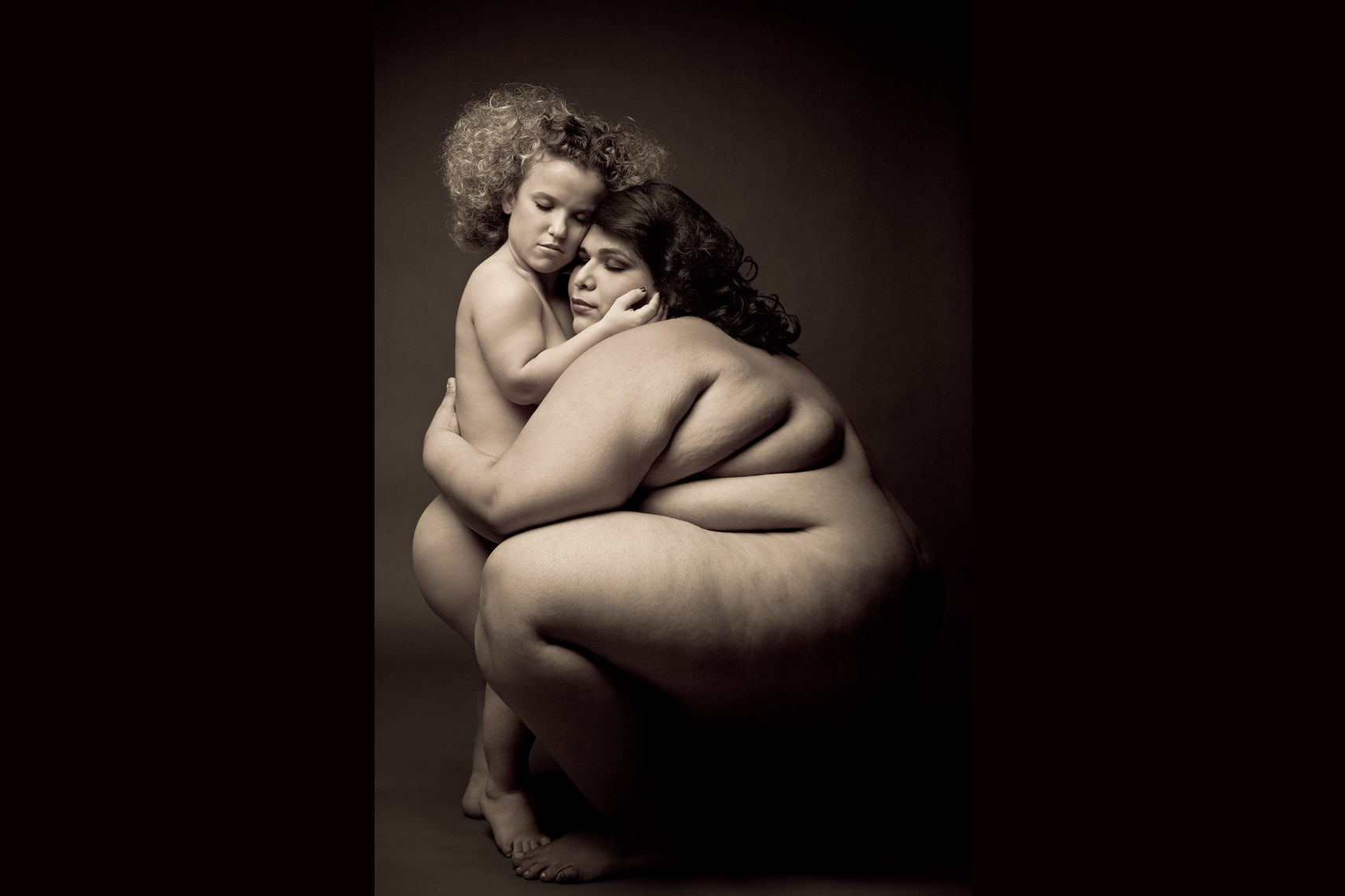 Los Angeles Portrait Photography, Michael Brian, pet, cat, 400 pound nude woman and dwarf, embracing, hugging, studio portrait