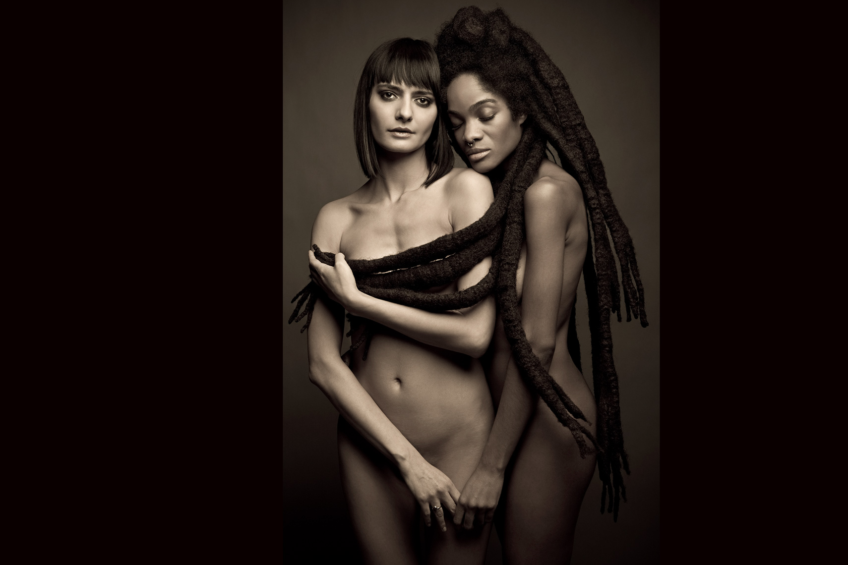 Los Angeles Portrait Photography, Michael Brian, pet, cat, Two nude women, sensual, African American, long dreads, studio beauty portrait