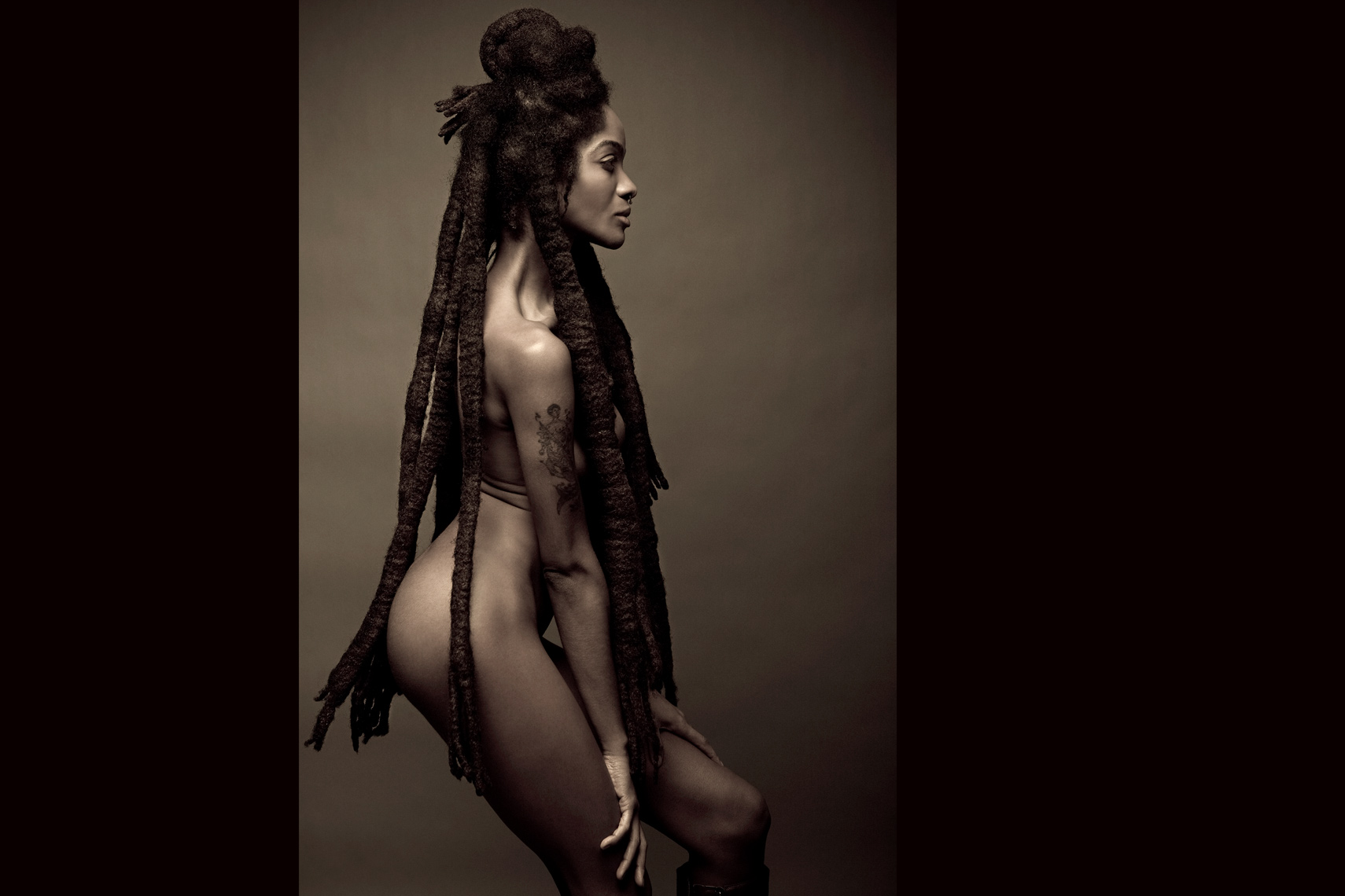 Los Angeles Portrait Photography, Michael Brian, pet, cat, Nude African American female, long dreads, studio beauty portrait