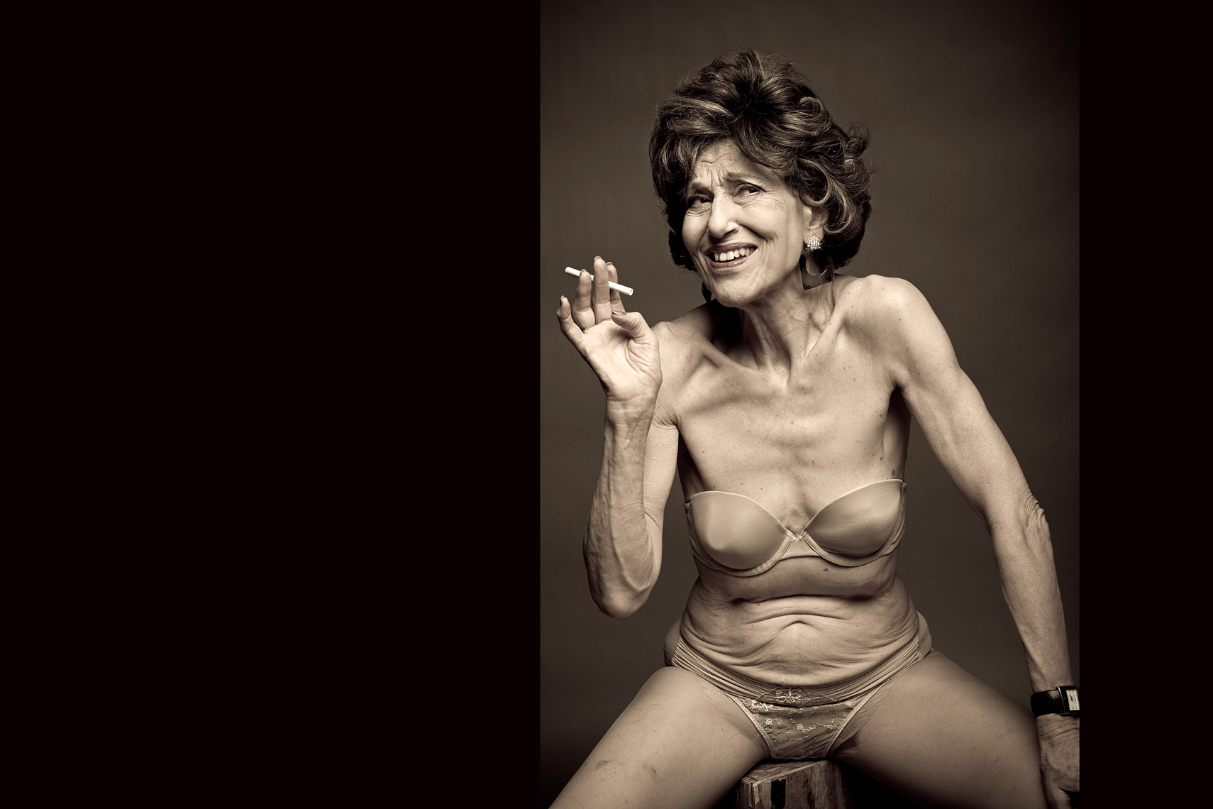 Los Angeles Portrait Photography, Michael Brian, pet, cat, 75 year old semi-nude woman, lingerie, cigarette, studio beauty portrait